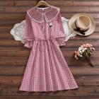 Long-sleeve Gingham Midi Dress