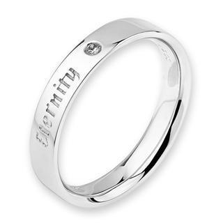 18k White Gold Eternity Engraved Diamond Solitaire Women Ring Band (0.01ct)