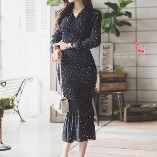 Dotted Ruffled Midi Dress