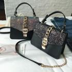 Chain-accent Sequined Satchel