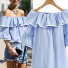 Striped Off-shoulder Ruffle Blouse