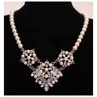 Rhinestone Faux Pearl Necklace