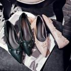 Pointy-toe Flower-accent Flats