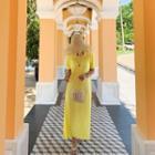 Round-neck Pleated Midi Dress