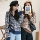 Long-sleeve Pattern Printed Knit Top