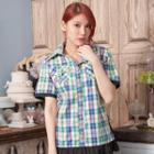 Plaid Shirred-hem Piped Short-sleeve Blouse