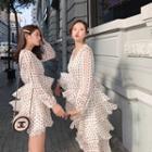 Dotted Long-sleeve Chiffon Dress / Midi Dress