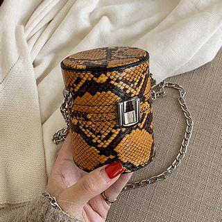 Snake Print Barrel Bag