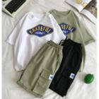 Printed Short-sleeve T-shirt / Drawstring Shorts / Set