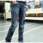 Distressed Patchwork Straight-leg Jeans