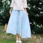 Flower Embroidered Midi Chiffon Skirt