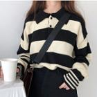 Striped Sweater With Polo Collar