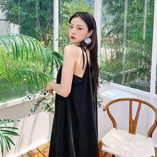 Spaghetti-strap Monotone Dress Black - One Size