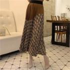Accordion-pleat Maxi Plaid Skirt