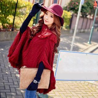 Fringed Cable-knit Poncho
