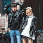 Couple Matching Faux Leather Biker Jacket