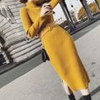 Mock-neck Knit Slit Dress