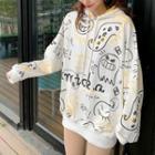 Long-sleeve Pattern Hooded Sweatshirt