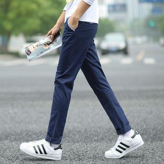 Pattern-trim Straight-fit Pants