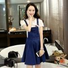 Denim A-line Pinafore Dress