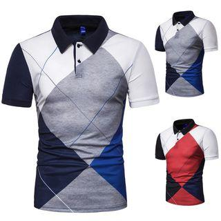 Diamond Check Short-sleeve Polo Shirt