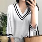3/4-sleeve Contrast-trim Knit Top White - One Size