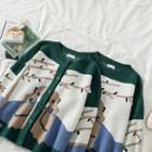 Print Crewneck Long-sleeve Knit Top / Cardigan