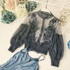 Set: Plain Camisole Top + Lace Panel Long-sleeve Top