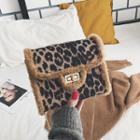 Leopard Patterned Twist Lock Crossbody Bag