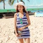 Set: Striped Bikini + Sleeveless Dress