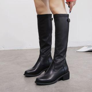 Faux Leather Low-heel Tall Boots