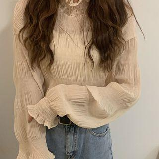Chiffon Lace Wood Ear Trim Ruched Long-sleeve Top