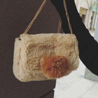 Faux-fur Pompom-accent Cross Bag