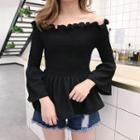 Shirred Off-shoulder Bell-sleeve Top