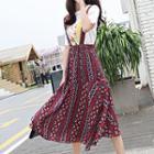 Patterned Midi Suspender Skirt