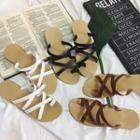 Cross Strap Loop Toe Slide Sandals