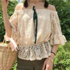 Off-shoulder Elbow-sleeve Lace Top