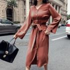 Long-sleeve Buttoned Chiffon Midi Dress