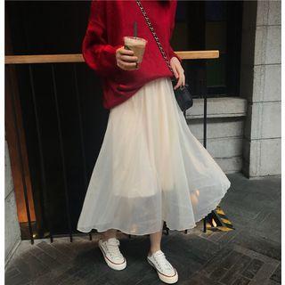 Midi A-line Chiffon Skirt Almond - One Size