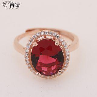 925 Sterling Silver Rhinestone Open Ring Red Rhinestone - Rose Gold - One Size
