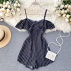Cold-shoulder Pinstriped Ruffled Playsuit