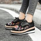 Genuine Suede Embroidered Platform Hidden Wedge Oxford Shoes