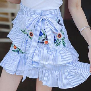 Embroidered-detail Striped Tiered Skirt