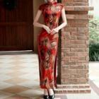 Floral Cap-sleeve Slit Maxi Qipao