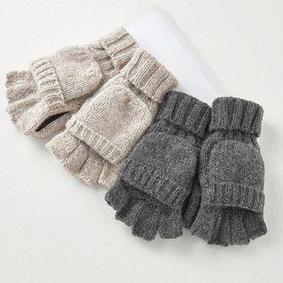 Couple Matching Knit Half Finger Gloves