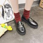 Faux Leather Buckled Loafers