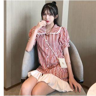 Checked Short-sleeve Collared Dress Red - One Size