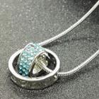 Rhinestone Heart & Hoop Pendant Necklace