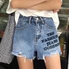 Lettering Denim Frayed Shorts
