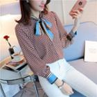 Patterned Tie-neck Chiffon Blouse